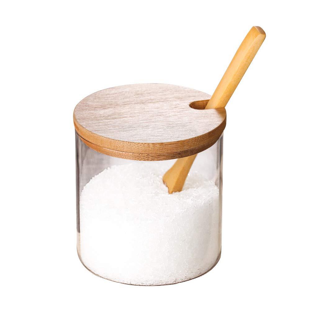 BESTONZON Glass Spice Jar Seasoning Sauce Pot Salt Container Tin Kitchen Supplies with Lid and Spoon