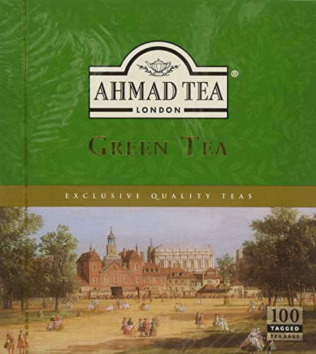 Ahmad Tea Green Tea Tagged Teabags, 100 Count