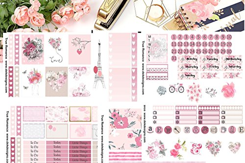 True Romance, Planner Calendar Sticker Kit 6 sheets on matte. Erin Condren and Happy Planner sizes. Kiss cut, just peel and stick. Romance Calendar