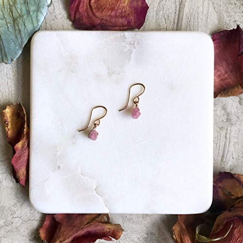 (Raw Earrings - Pink Tourmaline - Rose Gold Filled )
