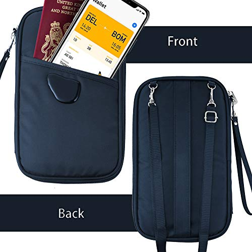 RFID Travel Passport Wallet & Documents Organizer with Neck and Hand Strap(Blue) by Athena YY (Image #2)