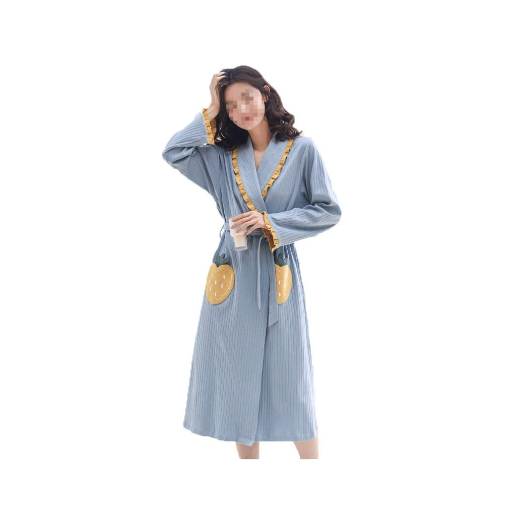 bluee LIAN Spring Robes Women's Long Sexy Thin Section LongSleeved Cotton and Wind Gowns Pajamas Home Service Winter Bathrobes Summer (color   bluee, Size   XL)