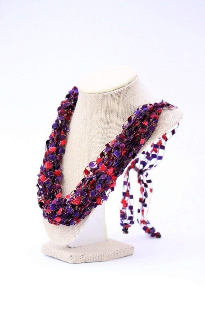 CROCHETLACES Adjustable Soft LIGHTWEIGHT Crochet Yarn Necklace Scarf- Red, Purple