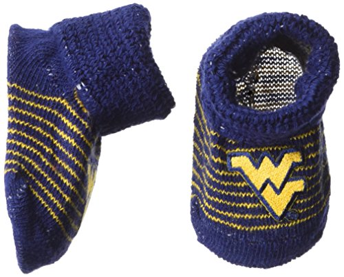 Two Feet Ahead NCAA West Virginia Mountaineers Infant Stripe Gift Box Booties, New Born, Navy/Orange