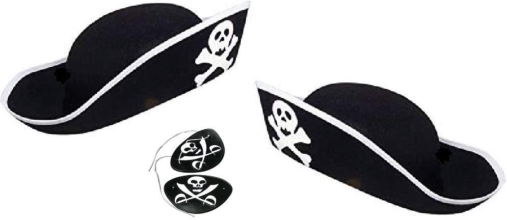 Novelty Treasures Child Size Black Felt Pirate Hat and Rubber Eye Patch (2 Sets)