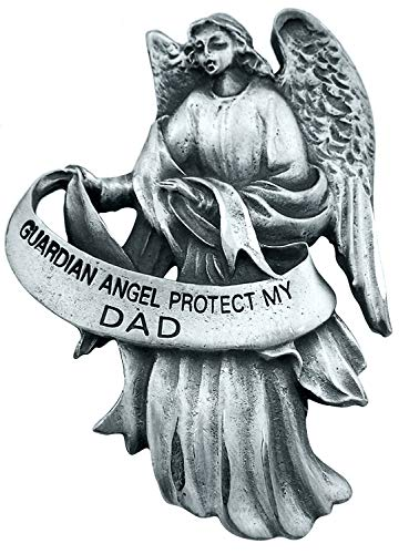 Pewter Visor Guardian Angel - WJ Hirten Pewter Guardian Angel Visor Clip, 2 1/2 Inch - Protect My Dad