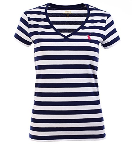 Ralph Lauren Sport Women's Lightweight V-Neck T-Shirt (Large, Navy/White) ()