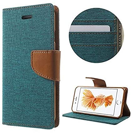 finest selection 443c0 89cc9 Cool & Creative Canvas Dairy Mi Redmi 5 Flip Cover Leather Case | Inner TPU  | Wallet Stand - Green Canvas