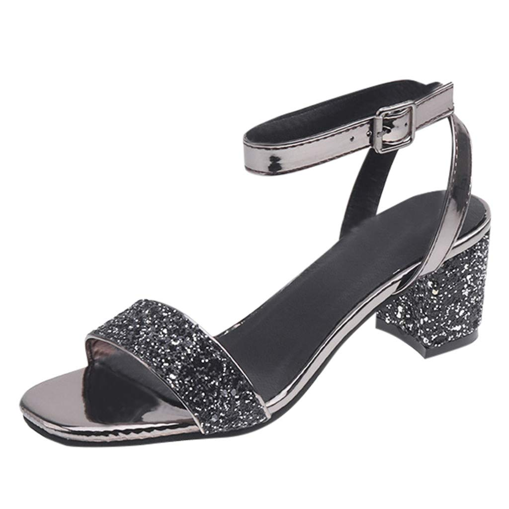 Franterd Sandals for Women Summer Bohemian Bling Bling Open Toe Square Heels Casual Beach Ladies Sandals Shoes