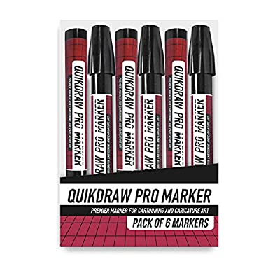 Quikdraw Pro Marker (Pack of 6 Markers) -, Rich Black Ink Markers - Ideal for Caricature Art, General Drawing and More