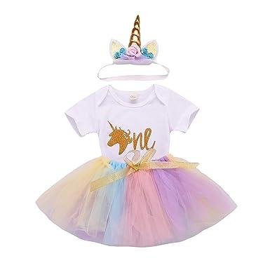 895298791 Baby Girl First Birthday Party Dress Unicorn Romper Rainbow Tutu Skirt  Headband One Outfit (0