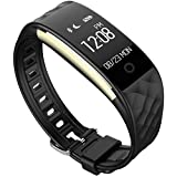 Wireless Fitness Monitor Smart Bracelet Bluetooth 4.0 Heart Rate monitor-Waterproof IP67 Sleep Monitor Notification Alerts Wristband for Android IOS Phones (Black)