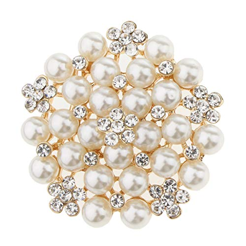 Fantastic Faux Pearl Floral Brooch for Wedding Party Lady Charming Ornaments (Color - Golden Beige Pearl)
