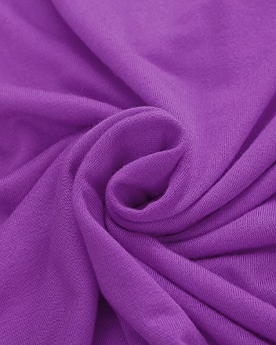 ZANZEA Mujer Básica Camiseta Manga Corta Cuello Pico 13 Colores Estampado Camuflaje Verano morado