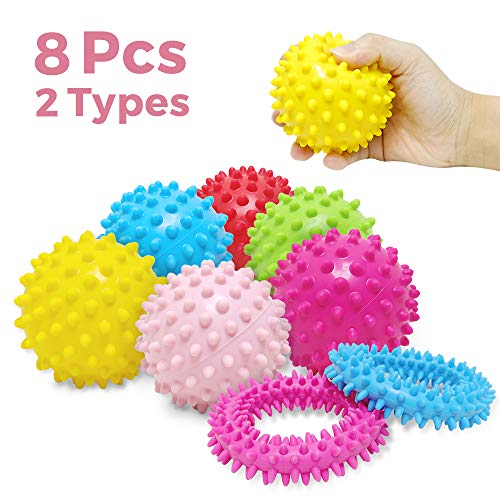 (VCOSTORE Spiky Sensory Toys Set of 6 Sensory Ball & 2 Spiky Rings, Squeezy Tactile Stress Balls for Kids with ADHD Autism, Hedgehog Massage Ball for Adults Stress Relief Pain Therapy)