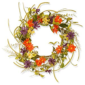 National Tree 22 Inch Floral Wreath with Multicolor Daisy Flowers (GAF30-22WM) 44