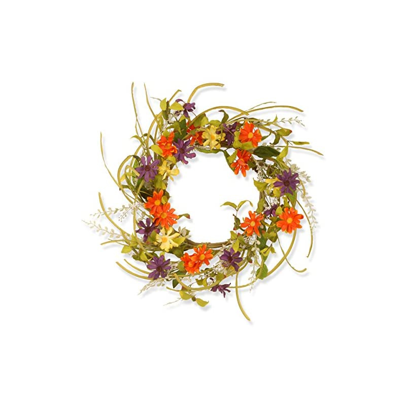 silk flower arrangements national tree company spring & summer wreath 22 inch branch wreath with multicolor daisy flowers for front door or home decoration
