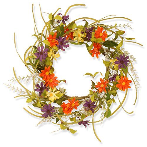 National Tree 22 Inch Floral Wreath with Multicolor Daisy Flowers ()