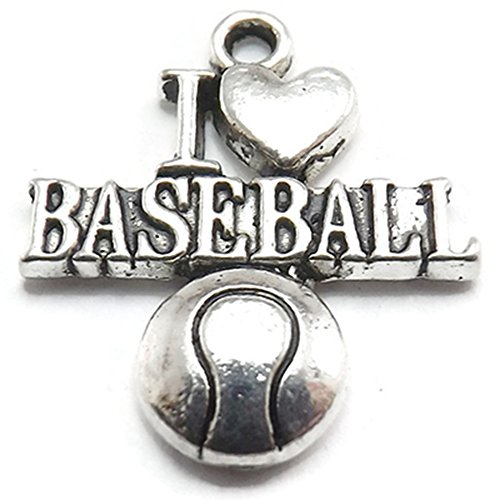 10 Baseball Charms silver tone sports I love baseball