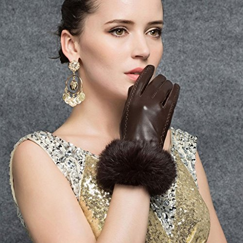 CASF Ladies Winter Genuine Leather Gloves For Women With Warm Rabbit Fur Brown S