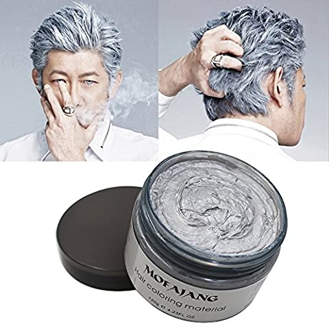 VOLLUCK Silver Grey Hair Wax Pomades 4.23 oz - Disposable Natural Hair Styling Clays Ash, Easy Cleansing (Silver - Black White Hair Pomade