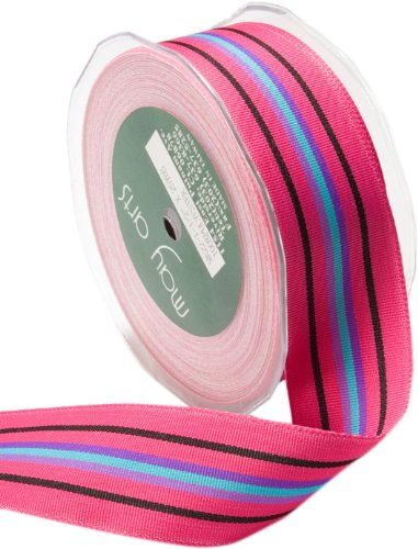 May Arts 5/8-Inch Wide Ribbon, Fuchsia and Black Grosgrain Stripes by May Arts