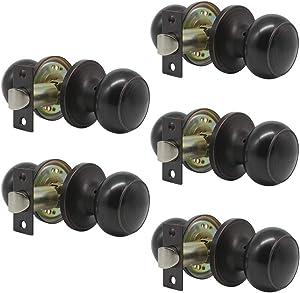 5 Pack Probrico Interior Passage Keyless Door Knobs Door Lock Handle Handleset Lockset Without Key Doorknobs Oil Rubbed Bronze for Hall/Closet-Door Knob 609
