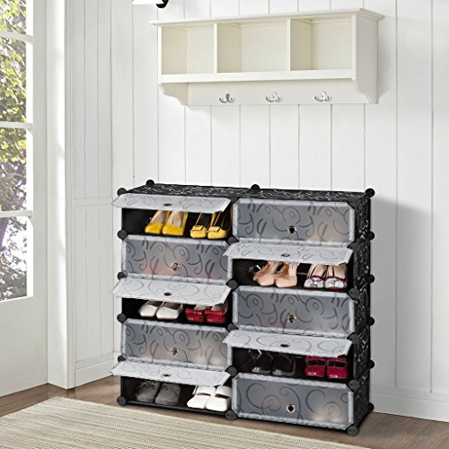 LANGRIA 10-Cube Shoe Storage Shoe Cabinet Plastic Shoe Organizer, DIY Shoe Rack Drawer Unit Multi Use Modular Organizer Storage with Doors, Black and White Curly Pattern