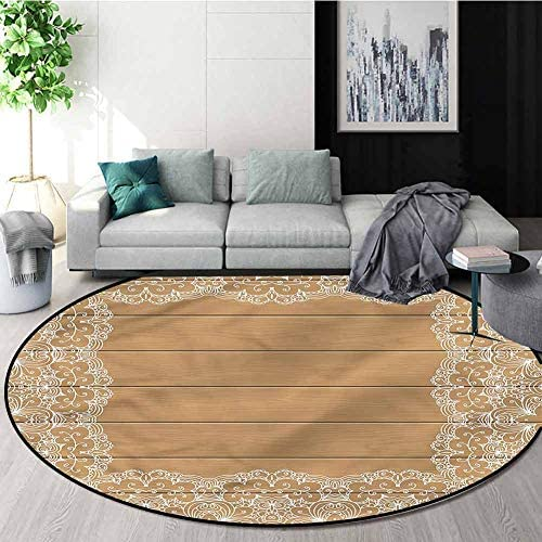 RUGSMAT Vintage Luxury Round Area Rugs,Wood Plank Floral Retro Super Soft Living Room Bedroom Home Shaggy Carpet Round-71
