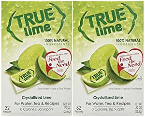 True Lime, Unsweetened Crystallized Lime (Pack of 2 Boxes, Total 64 Individual Packets)
