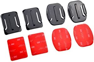 Flat 2x Curved Mounts with Adhesive Pads for GoPro Hero HD 1233