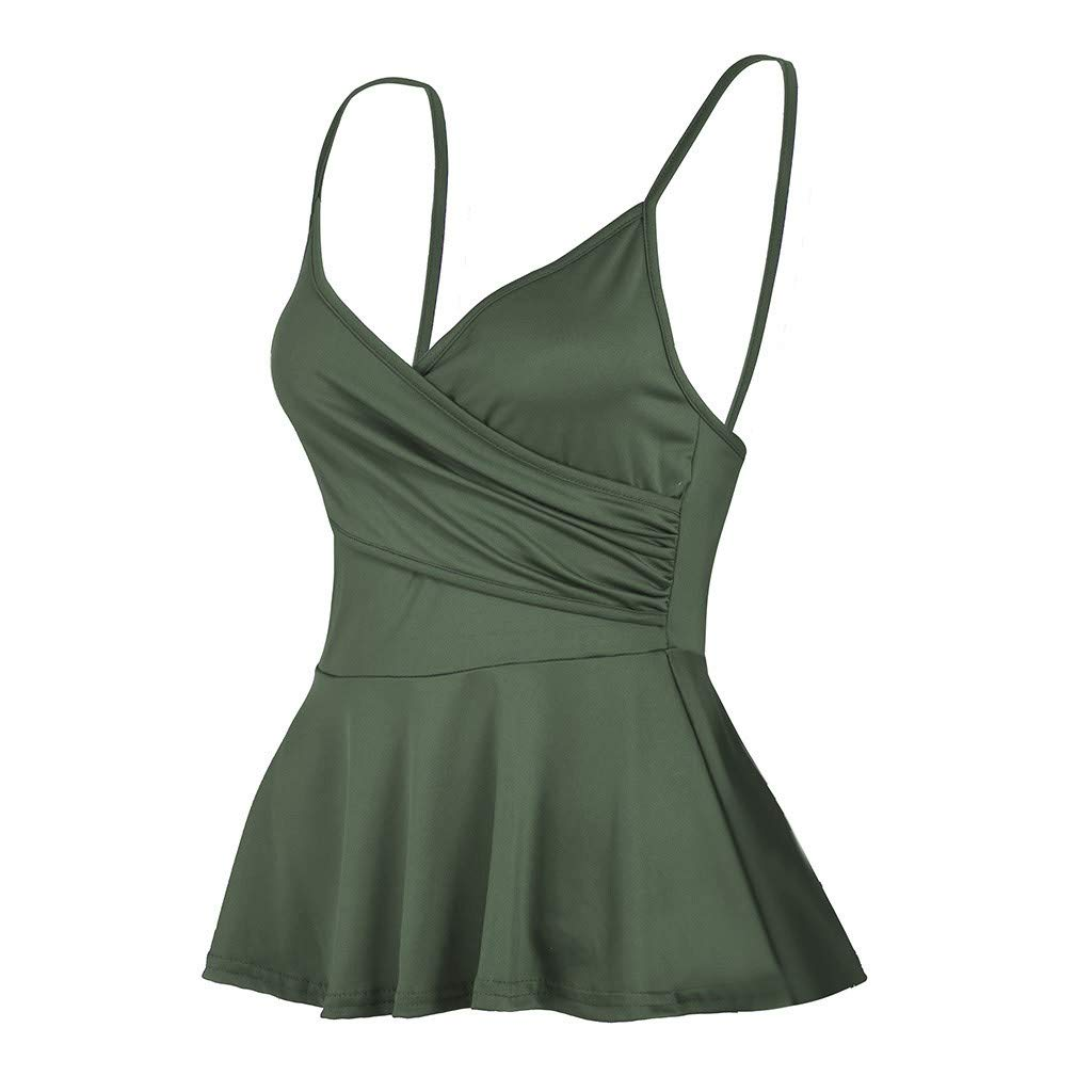 NUWFOR Summer Women's V Neck Solid colorSling Casual Vest Sexy Tank Tops (Army Green,US XS Bust:25.1-24.3'')