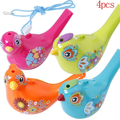 Omigga 4 Pieces Bird Whistle Colorful Bird Water Whistle Bird Toy Bath Toys for Kids Birthday Gift, Easter -