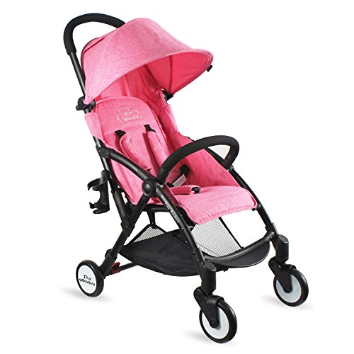 Pink Deluxe Dual-Brake Single Baby Stroller, Portable Light Weight Travel Pram, Large Water Resistant Umbrella Canopy For Infant Toddler, Boys, Girls Unisex 3 Month, 1, 2 Year Old and UP