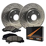 Max Brakes Front Performance Brake Kit [ Premium Cross Drilled Rotors + Ceramic Pads ] KT015721 Fits: Chevy 2006-2015 Impala 2006-2007 Monte Carlo | Buick 2006-2011 Lucerne
