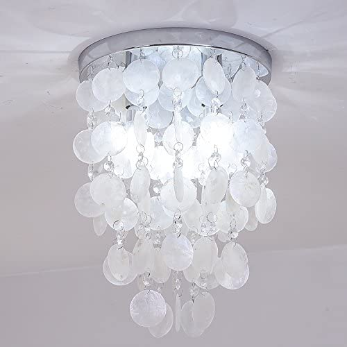 INJUICY Crystal Pendant Lights, Modern Shell E12 Led Ceiling Lamps for Bedroom Living, Dining Room, Cafe Bar, Hallway Decor