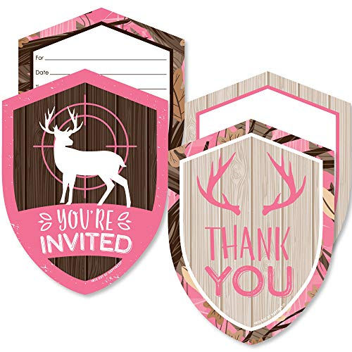 Pink Gone Hunting - 20 Shaped Fill-In Invitations and 20 Shaped Thank You Cards Kit - Deer Hunting Girl Camo Baby Shower or Birthday Party Stationery Kit - 40 Pack]()