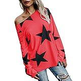 Alalaso Clearance Sale Women Girl Strapless Star Sweatshirt Long Sleeve Crop Jumper Pullover Tops(Red,XXXL)