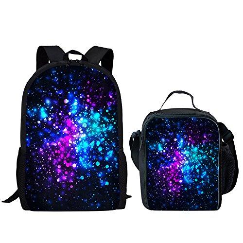 Ruiyida Rainbow Glowing Light Glitter Galaxy Star Sparkles Black Kids School Backpack For Elementary Girl Boy -