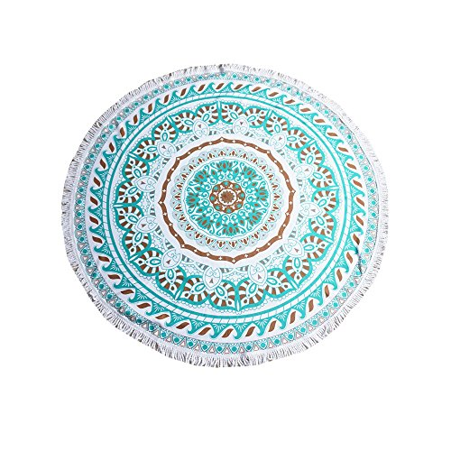 AteAte Round Beach Towel Thick Terry Cotton with Fringe Tassels - Various Designs & Colors (Flowers)