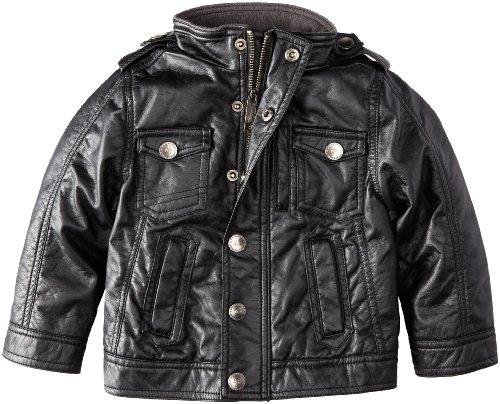 Urban Republic Little Boys' Faux Leather Jacket, Black, 3T
