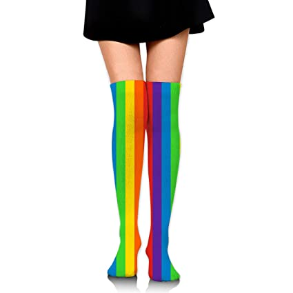 9d6357ab5 WRE8577 Women s Knee High Sport Long Sock Stripes Vertical Rainbow Pattern  for Jogging Sport Long Stockings