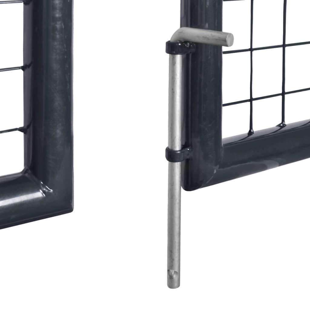 vidaXL Cancello per Giardino Acciaio Zincato 289x100cm Grigio Porta Recinzione