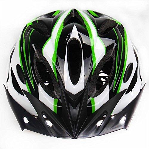 Adult Bike Helmet Safety Protection 18 Integrated Flow Vents Adjustable 52-62cm (Green&White)