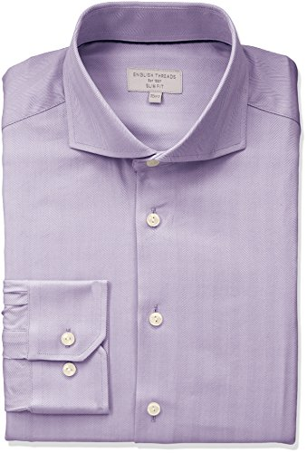 (English Threads Men's Slim Fit Herringbone Dress Shirt, Lavender, 14.5