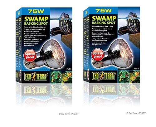 ((2 Pack) Exo Terra Swamp Glo Basking Spot Lamp, 75 Watt)