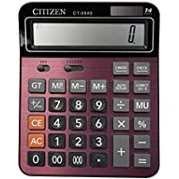 Calculator, Everplus Electronic Desktop Calculator with 14 Digit Large Display, Solar Battery LCD Display Office Calculator(Red 14D)