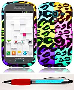 Accessory Factory(TM) Bundle (the item, 2in1 Stylus Point Pen) For Samsung T599 Galaxy Exhibit Rubberized Design Cover Case - Colorful Leopard