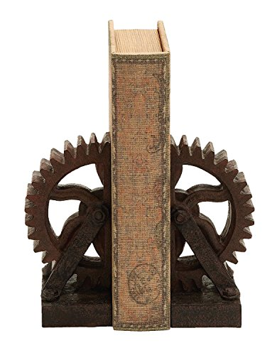 Poly-stone Gear Bookend, Set of 2