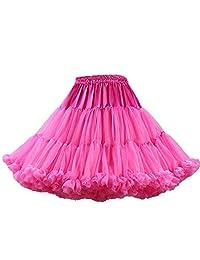 Lowime Women's A Line Ruffle Tutu Petticoats Candy Color Puff Crinoline